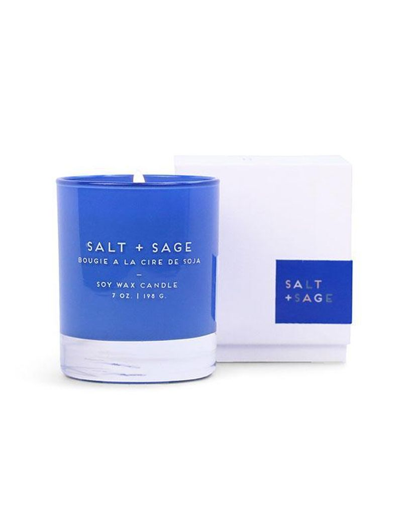 Paddywax Salt & Sage Statement Candle Blue Glass Boxed