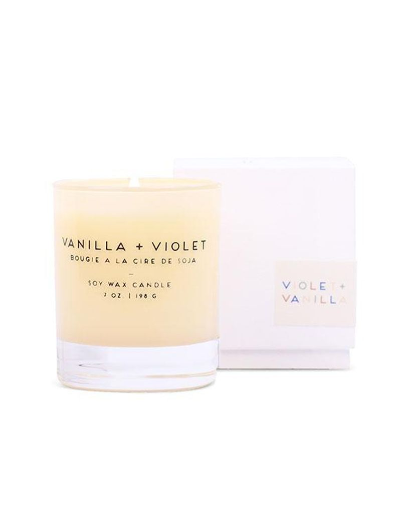 Paddywax Vanilla & Violet Statement Candle Beige Glass Boxed