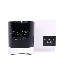 Paddywax Pepper & Oak Statement Candle Black Glass Boxed