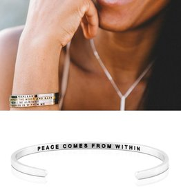MantraBand Peace Comes from Within Mantra Band -Silver