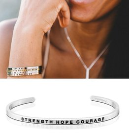 MantraBand Strength Hope Courage - Silver