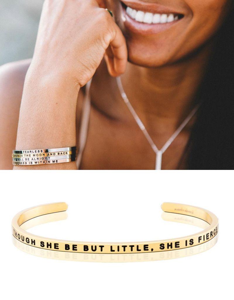 MantraBand She is Fierce Mantra Bracelet - Gold