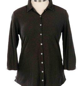 Cut Loose Button Front 3/4 Sleeve Shirt