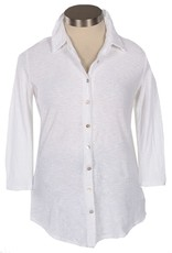 Cut Loose Button Front 3/4 Sleeve Shirt
