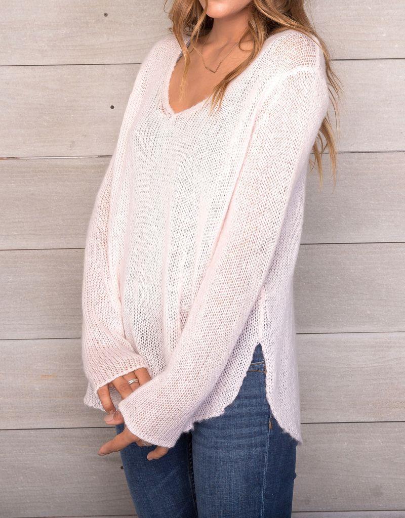 Wooden Ships Shirt Tails V-Neck Lightweight Sweater