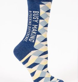 Blue Q Busy Making a Difference Crew Socks