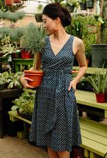 Mata Traders Ana Wrap Dress Blue Dots