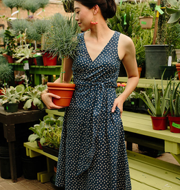 Mata Traders Ana Wrap Dress Blue Dots