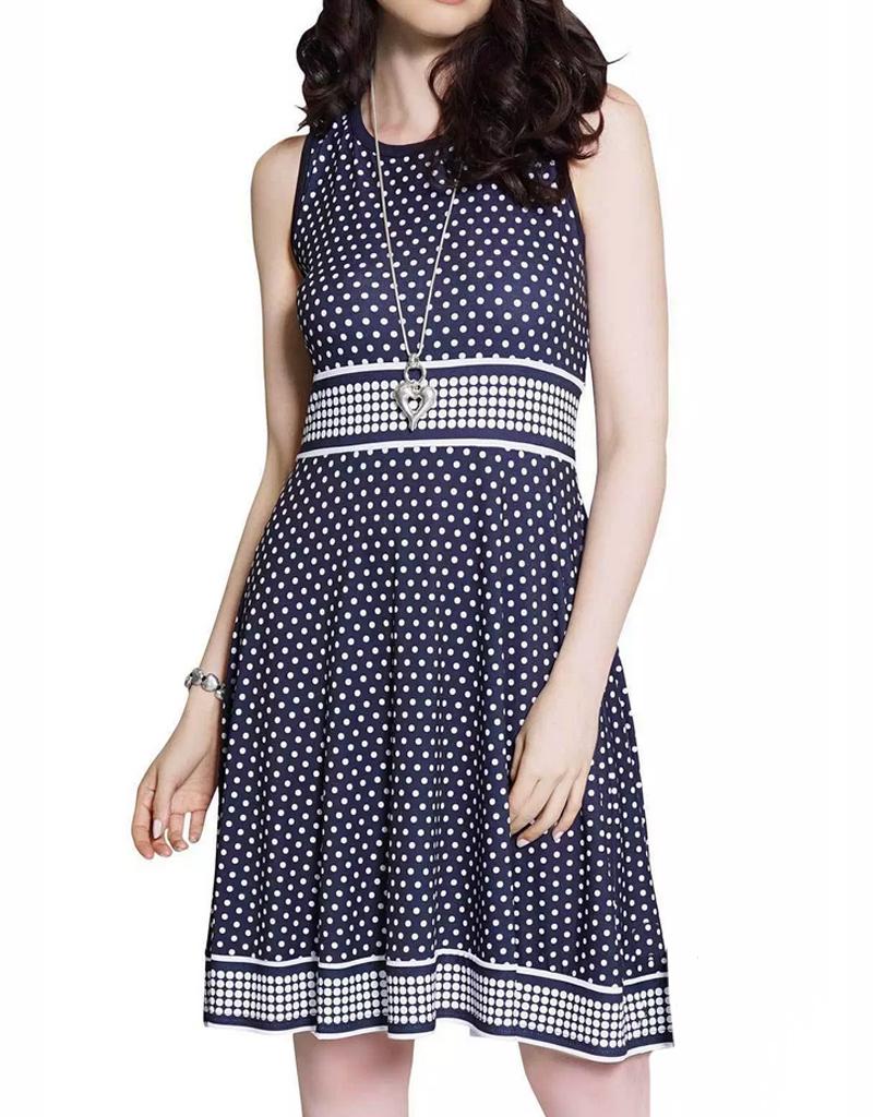 LD International Sleeveless Polka Dot Dress