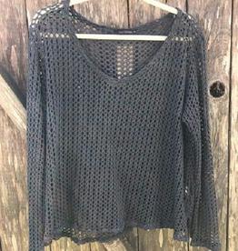 Cut Loose Fishnet V-Neck Pullover
