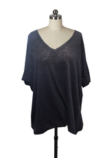 Nally & Millie V-Neck Slouch Sweater w/ Side Slits