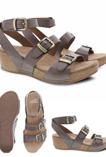Dansko Lou Burnished Calf Buckle Sandal in Taupe