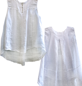 Porto Sleeveless A-Line Linen Top w/Zipper