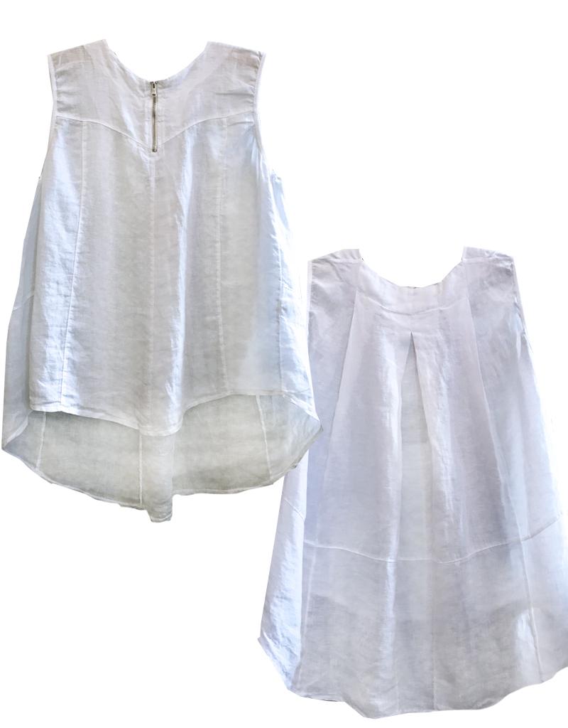 Porto Sleeveless A-Line Linen Top w/Zipper
