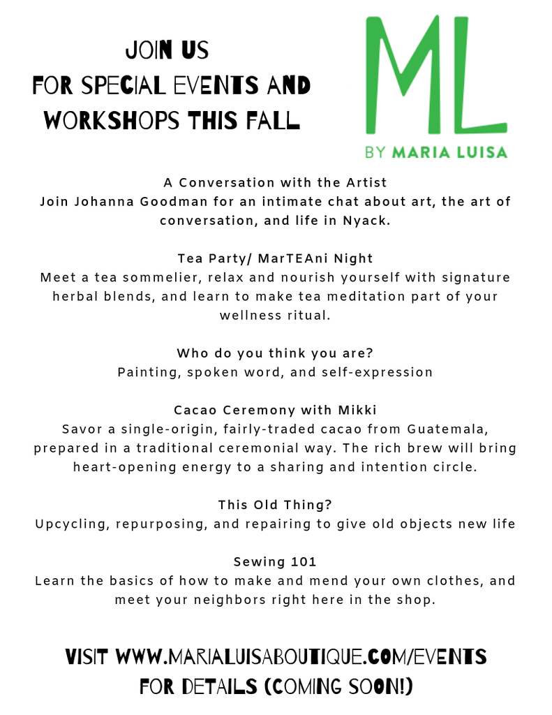 Click to View Our Fall Workshops - More details coming soon!