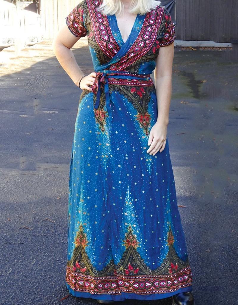 Zig Zag Wrap Dress, Peacock Print Rayon Thailand