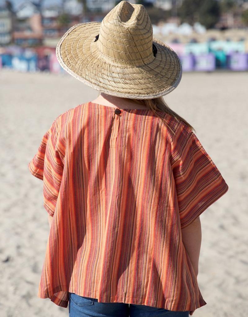Zig Zag Short Sleeve Striped Wide Box Cotton Top