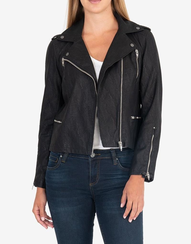 Kut from the Kloth Leni Textured Suede Moto Jacket