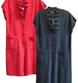 Qneel Q-Neel Pleated Collar Boiled Wool Waistcoat Dress