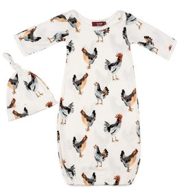 Milkbarn Newborn Gown and Hat Set - Chickens, 0-3M