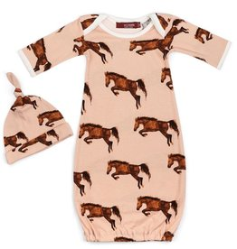Milkbarn Newborn Gown and Hat Set - Horse, 0-3M