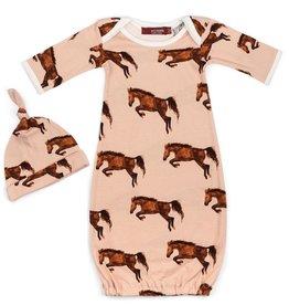 Milkbarn Newborn Gown and Hat Set - Horse, 0-3M