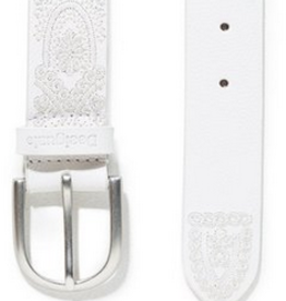Desigual White Embossed Belt