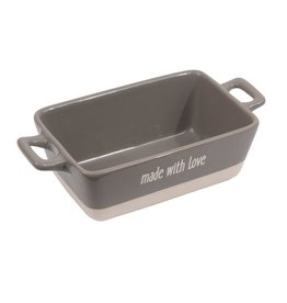 "Creative Co-op Mini Stoneware Baker ""Made With Love"", Grey"