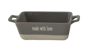 """Creative Co-op Mini Stoneware Baker """"Made With Love"""", Grey"""