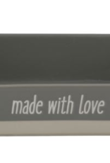 """Creative Co-op Large Stoneware Baker """"Made With Love"""", Grey"""