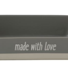 "Creative Co-op Large Stoneware Baker ""Made With Love"", Grey"