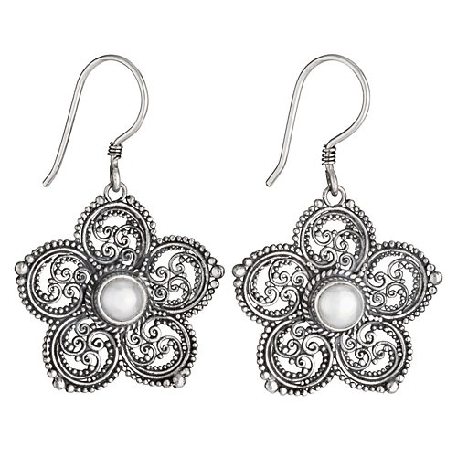 Tiger Mountain Fancy Five Petal Pearl Flower Earrings