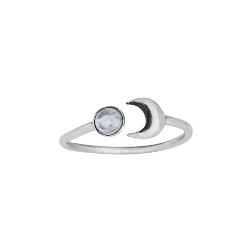 Tiger Mountain Moonstone with Crescent Moon RIng