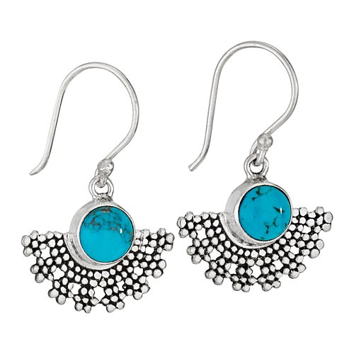 Tiger Mountain Half Round Turquoise Earrings