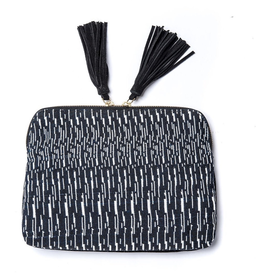 Bloom & Give Kavya Cotton Jacquard/Leather Clutch