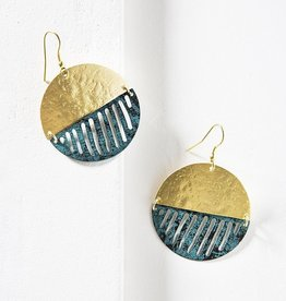 Matr Boomie Nihira Earrings - Gold & Teal Medallion