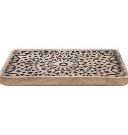 Creative Co-op Carved Mango Wood Tray