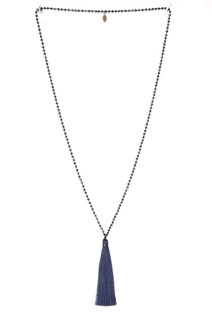Zacasha Small Crystal Long Necklace with Tassel