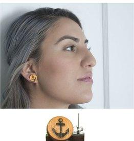 Unpossible Cuts Anchor Earrings, Wood