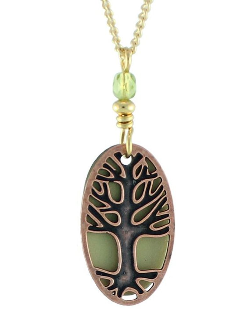 Earth Dreams Oval Tree of Life Necklace, Copper and Green