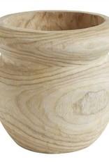 "Creative Co-op 8"" Round Paulownia Wood Pot"