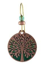 Earth Dreams Tree of Life Earrings, Copper/Green