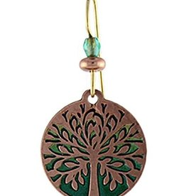 Earth Dreams Tree of Life Earrings, Copper/Green
