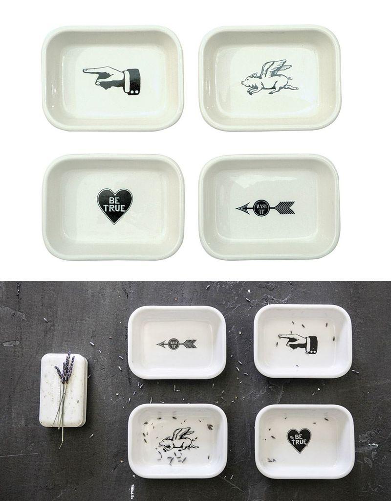 Creative Co-op White Graphics Stoneware Soap Dish