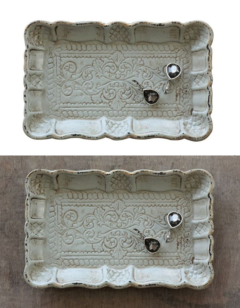 "Creative Co-op 7.25"" Decorative Wood Tray w/Scalloped Edge"