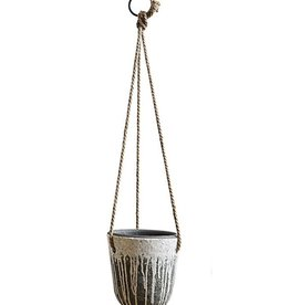 "Creative Co-op 7.75"" H Hanging Distressed Terra Cotta Planter"