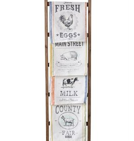 "Creative Co-op 28""L x 18""W Cotton Tea Towel, w/ Farm Animal"