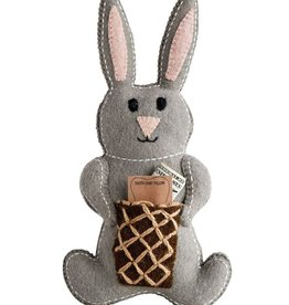 """Creative Co-op 8""""L x 14""""W Grey Wool Bunny Tooth Fairy Pillow"""