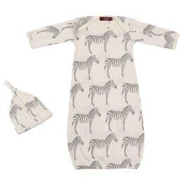 Milkbarn Newborn Gown and Hat Set - Grey Zebra, 0-3M