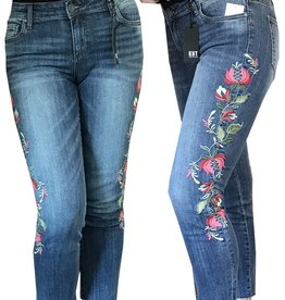 Kut from the Kloth Reese Ankle Straight Leg Floral Embroidery